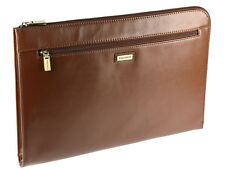Visconti Leather Under-Arm Meeting Folio A4 Document Holder Folder Case - Brown