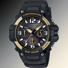 Casio MCW100H-9A2V Mens Analog Heavy Duty Watch Chronograph Black Yellow 100M WR