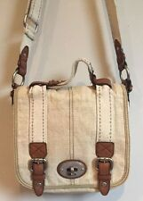 Fossil Maddox Beige Flap Crossbody Messenger Bag Purse