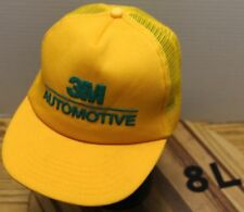 VINTAGE 3M AUTOMOTIVE TRUCKERS HAT SNAPBACK MESH BACK GOLD MADE IN THE USA EUC