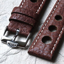 Medium brown contrast stitched leather 20mm rally band with Heuer watch buckle