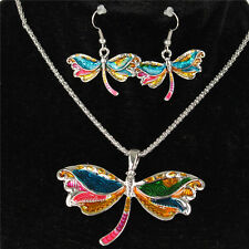 Silver Dragonfly Necklace Earrrings Chain Jewelry Sets Party Birthday Girl Gift