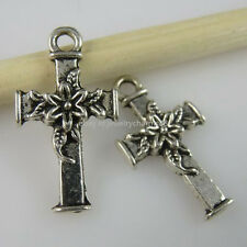 11257 50PCS Flower Cross Pendant Jewelry Making Vintage Silver Tone