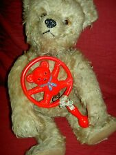 """Charming, 1930s vintage, unusual """"TEDDY BEAR"""" celluloid baby doll rattle toy"""