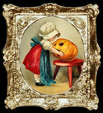 Halloween Pumpkin Carving Miniature Dollhouse Picture