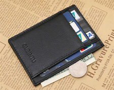 Black Men's leather Magic Wallet slim money clip credit card holder Purse FENG