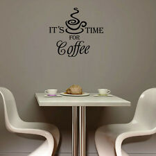 It'S Time For Coffee Quote Wall Sticker Cafe Wall Decal Coffee Bar Decor Kitchen