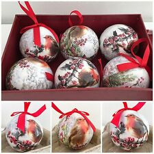 MACNEIL TRADITIONAL CHRISTMAS ROBIN SET 6 GIFT BOXED CHRISTMAS TREE BAUBLES