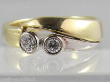 Damen Diamant Ring 585er Gold bicolor 2 Brillanten 0,17 ct. VVS-VS / H Gr. 53
