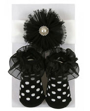Stephan Baby Just Like Mommy Girl White Pearl Headband & Black Socks Set 680595