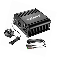 Neewer 1-Channel 48V Phantom Power Supply Black with Adapter and One XLR Audio C