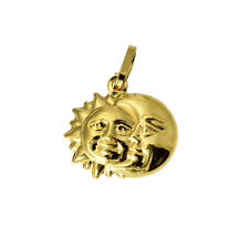 14K Yellow Gold Small Sun & Moon Charm Pendant