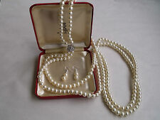 CIRO 2 ROW FAUX PEARL WHITE LUSTER FLAPPER NECKLACE & EARRINGS  1970'S WITH BOX