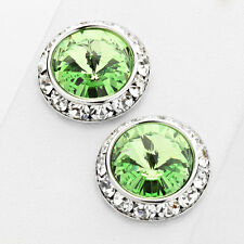 Fashion Peridot Green Stud Earrings Made With Crystal Swarovski Elements 5/8""