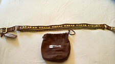 NEW LINEA PELLE leather studs blink chain brown Size M $225 stylish RARE