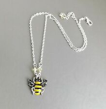 Bumblebee enamel pendant necklace .. crystal silver tone insect bee cute jewelry