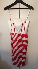 Authentic JUST CAVALLI Bodycon Evening /Party / Wedding White Reds Dress UK 8