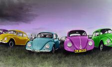 POSTER fotografico del vecchio stile VW Coleotteri in linea, nuova