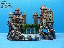 MEDIEVAL CASTLE AQUARIUM DECOR RESIN HAND PAINTED NICE DETAILED PIECE 25139