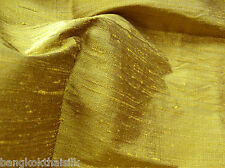 GOLD 100% PURE THAI SILK DUPIONI FABRIC HAND WOVEN BTY DRESS DRAPE BLOUSE SHIRT