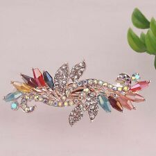 Women Gift 14K Gold Plated Colorful Austrian Crystal Leaf Hair Clip Jewelry D622