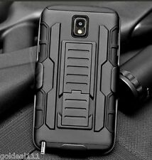 Samsung Galaxy Note 3 Hybrid Tank Armor Holster Case Cover w/ Kick Stand Black