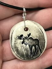 "Moose Worry Stone Handmade Pottery Native American 18"" Black Rope Necklace B"
