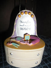 """""""HAIRSTYLISTS TOUCH US WITH BEAUTY"""" GREAT DETAIL PHOTO/BUSINESS CARD HOLDER EUC"""