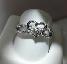 HEART SHAPE INFINITY PROMISE RING   925 SILVER .... SIZE 6