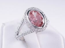 1.88 CT TW OVAL CUT DIAMOND ENGAGEMENT RING PINK SI2