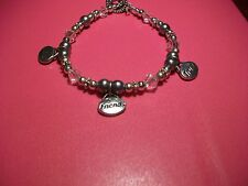 WOMENS LOVE FRIENSHIP TRUST BEADED CRYSTAL CHARM BRACELET