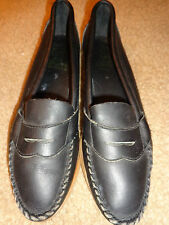 New Vintage Black Leather Shoes Size 7N By SIOUX Moccasins Made in the USA
