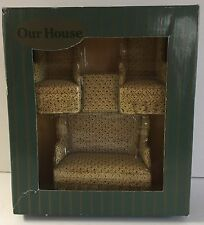 NOS Our House Dollhouse Miniature Upholstered 4 pc Living Room Set Furniture