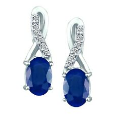 1.18 tcw Natural Sapphire & Diamond Oval Drop Earrings Solid 14k White Gold