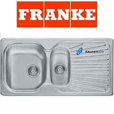 FRANKE DOUBLE 1.5 BOWL DRAINER & WASTE STAINLESS STEEL SQUARE KITCHEN SINK INSET
