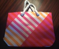 Clinique Striped Pink Orange White Large Canvas Bag Tote