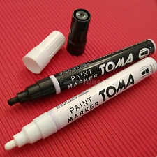 Permanent Waterproof Oil Based Paint Marker Pen Set of 2: BLACK and WHITE