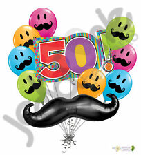 10 pc Mustache & Stripes 50th Happy Birthday Balloon Bouquet Party Decoration