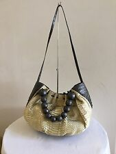 NANCY GONZALEZ Crocodile/Python Beaded Handle Satchel Bag Handbag