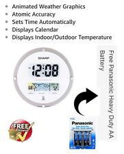 Sharp Digital Atomic Wall Clock Indoor/Outdoor Temp with Weather Readout SPC906A
