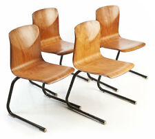 4x Pagholz Stahlrohr Freischwinger-Stühle TourOpSeat Sitzgruppe cantilever chair