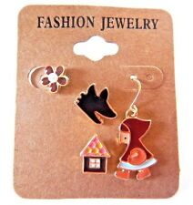 LITTLE RED RIDING HOOD 4PC EARRING SET stud fairy tale storybook fable wolf 2E