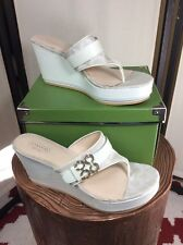 COACH Gypsy Signature White Patent Leather Platform Wedge Thong Sandals Size 10