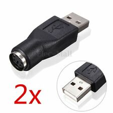 2pcs USB 2.0 PS/2 Female to Male Adapter Converter Connector for Keyboard Mouse