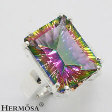 75% Off Rainbow Mystical Fire Topaz 925 Sterling Silver Ring Size 8