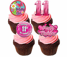 11th Birthday Girl Edible Cup Cake Toppers, Standup Fairy Bun Decorations Pink