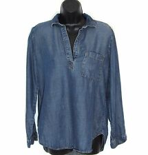 CLOTH & STONE Shirt S Tencel Chambray Denim Tunic PopOver High Low Anthropologie