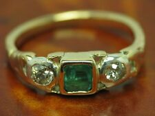 14kt 585 ART DECO BICOLOR GOLD RING MIT 0,22ct DIAMANT & 0,40ct SMARAGD BESATZ