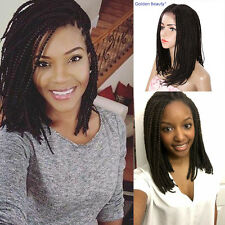 "16""  Bob Style Wig Box Braids Wigs Synthetic Lace Front Wig Women's Black Wig"