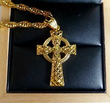 18k Gold Filled Jesus Christ Crucifix Celtic Cross and Chain Necklace UK